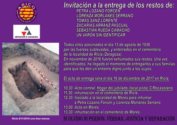 INVITACION INHUMACION EN RICLA DIA 16 DE DICIEMBRE DE 2017