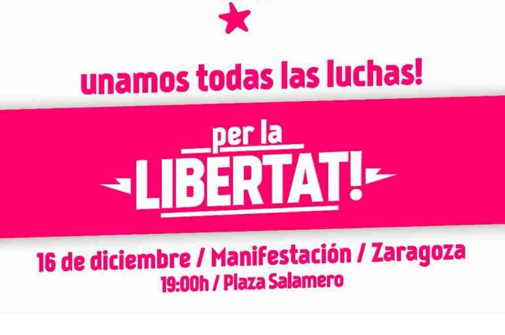 """Manifestación en Zaragoza """"por la libertad"""" para celebrar el Día Nacional de Lucha Aragonesa"""
