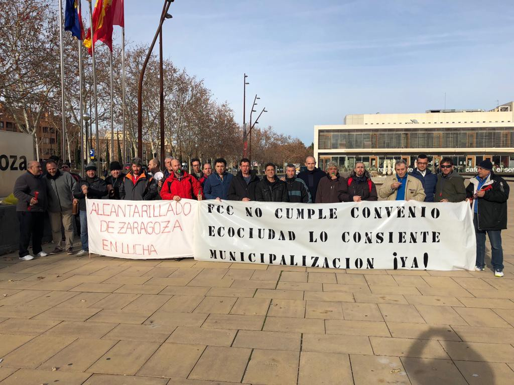 """La plantilla de Alcantarillado de Zaragoza denuncia el """"recorte unilateral de derechos"""" por parte de FCC y anuncia paros parciales"""