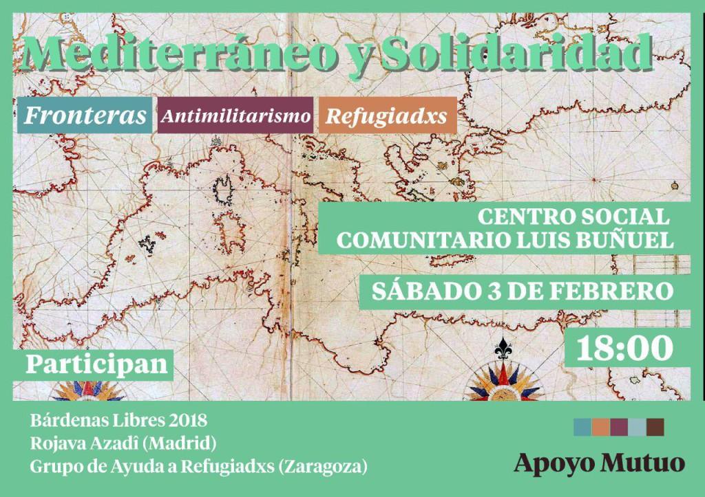 """Apoyo Mutuo Aragón organiza la charla """"Mediterráneo y Solidaridad. Fronteras, antimilitarismo y refugiadxs"""""""