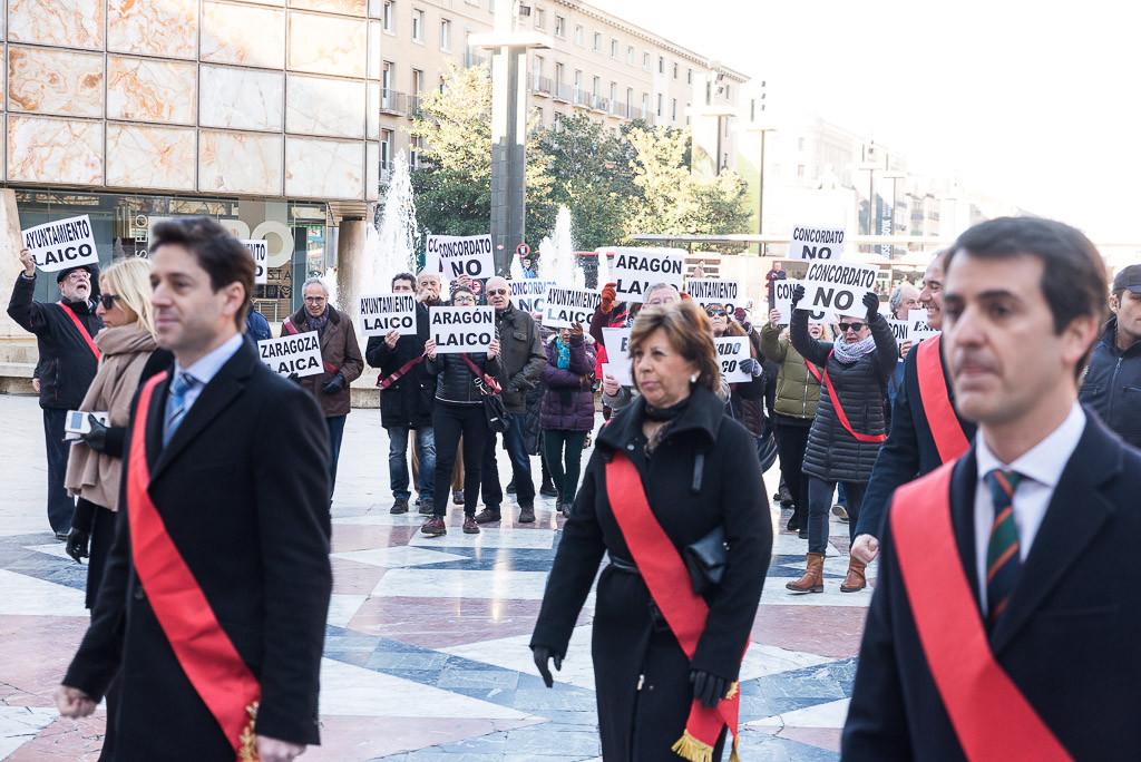 MHUEL protesta contra la corporación municipal en el día de San Valero