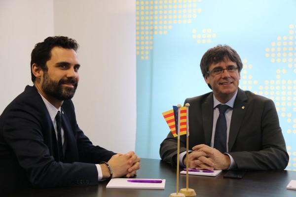 Puigdemont y Torrent en una reunión en Bruselas. Foto: JxCat