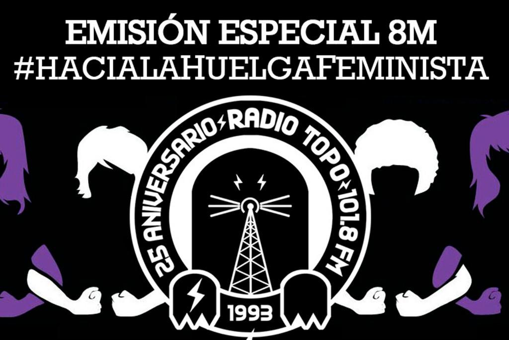 Programación especial de la huelga feminista en Radio Topo este 8M