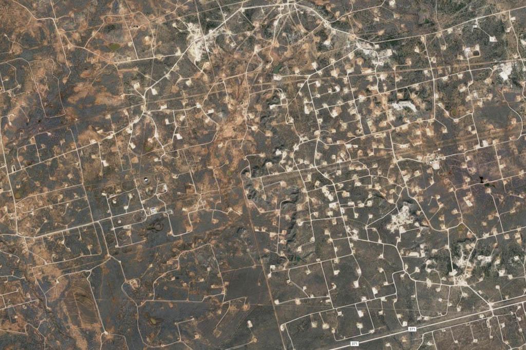 Ampliación al azar de una imagen de Google Earth de Texas.