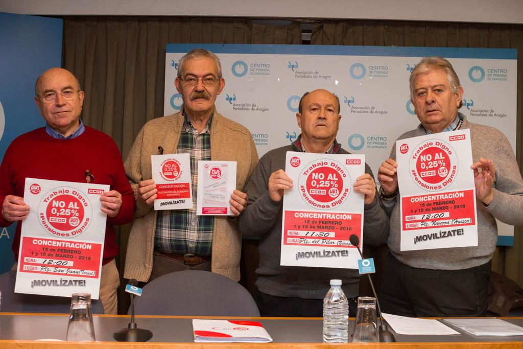 CCOO y UGT Aragón convocan concentraciones en las tres capitales en defensa de las pensiones