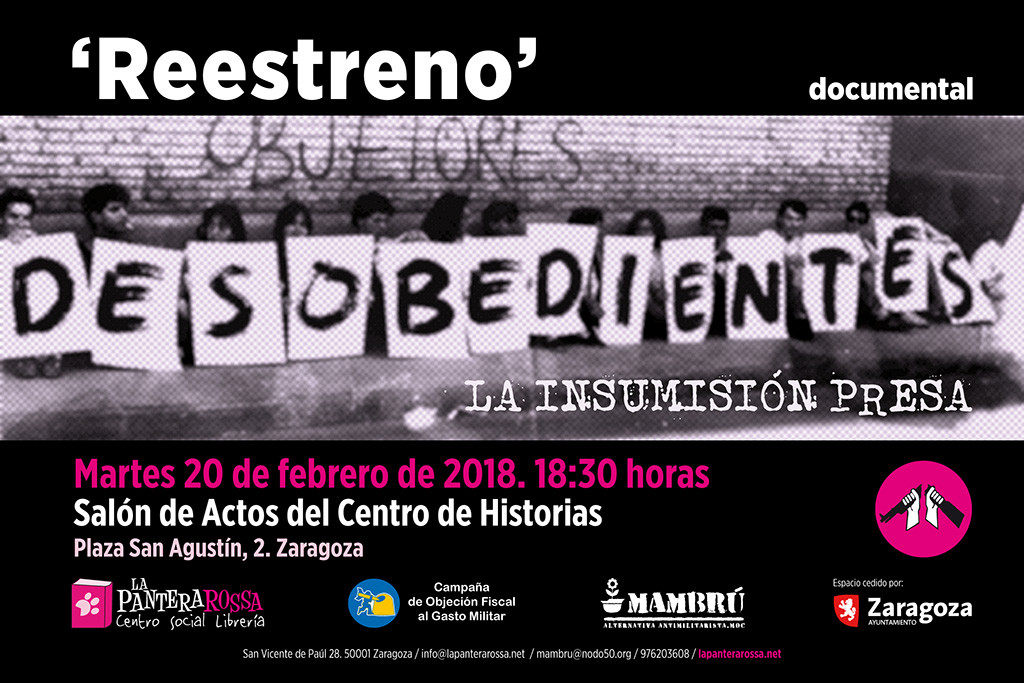 "Reestreno del documental ""Desobedientes. La insumisión presa"""