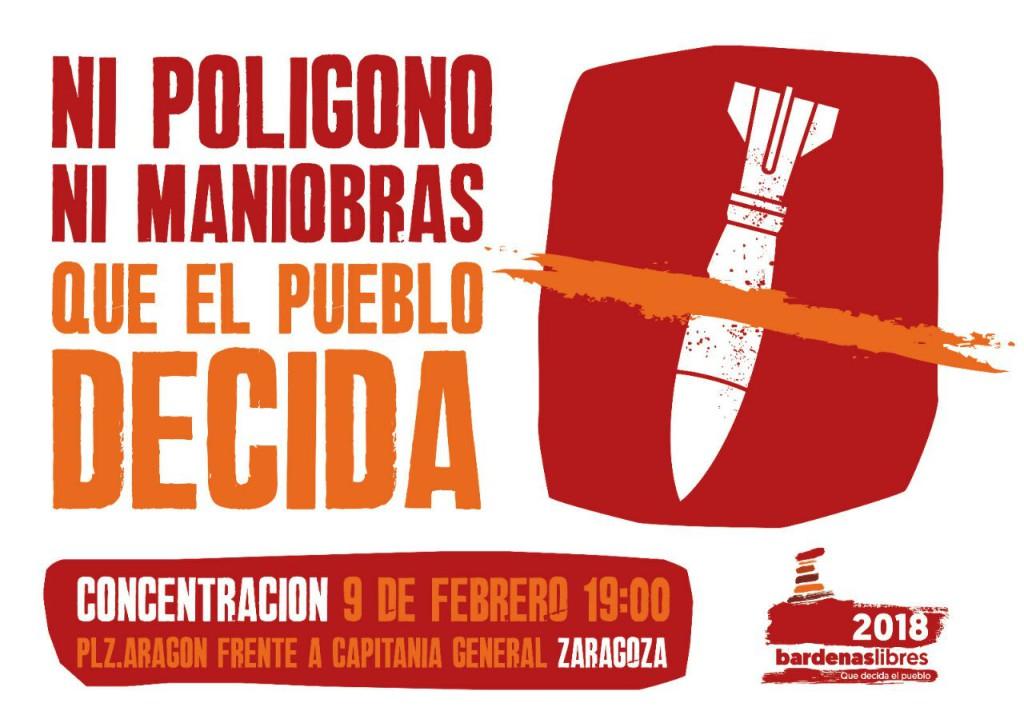 Bardenas Libres 2018 convoca concentraciones en Tutera, Iruña y Zaragoza en contra de los ejercicios militares