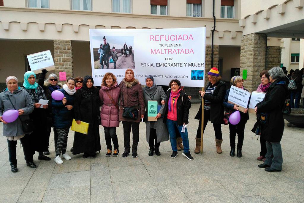 La Plataforma Ciudadana Pro Refugiados Alto Aragón  denuncia en el 8M la situación de las refugiadas