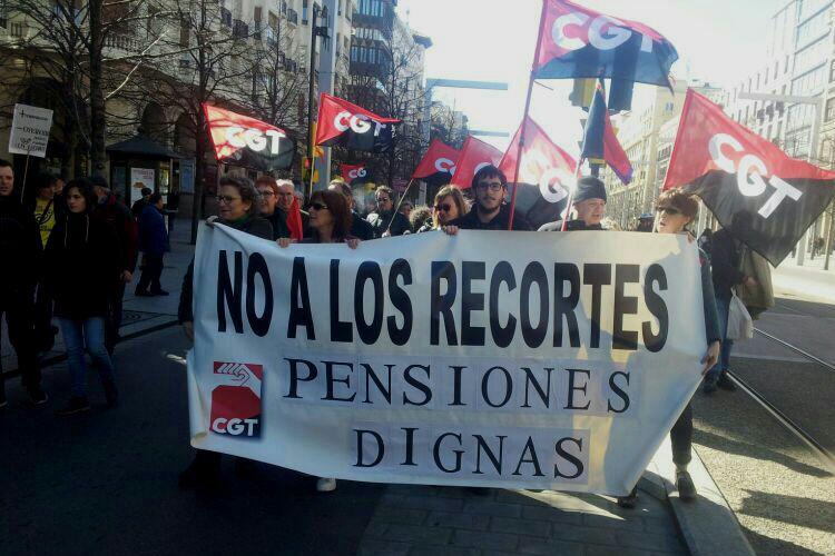 CGT Aragón apoya la convocatoria de la Coordinadora en defensa de las pensiones públicas y llama a la movilización