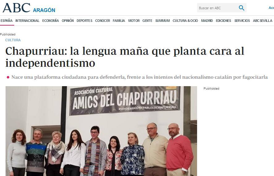 """""""Chapurriau"""", """"la lengua maña que planta cara al independentismo"""", asinas define ABC o catalán en Aragón"""