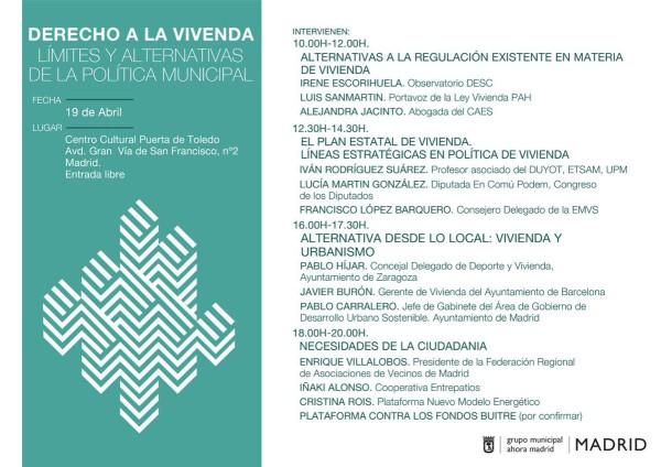 """jornada """"Derecho a la Vivienda: limites y alternativas de la política municipal"""""""