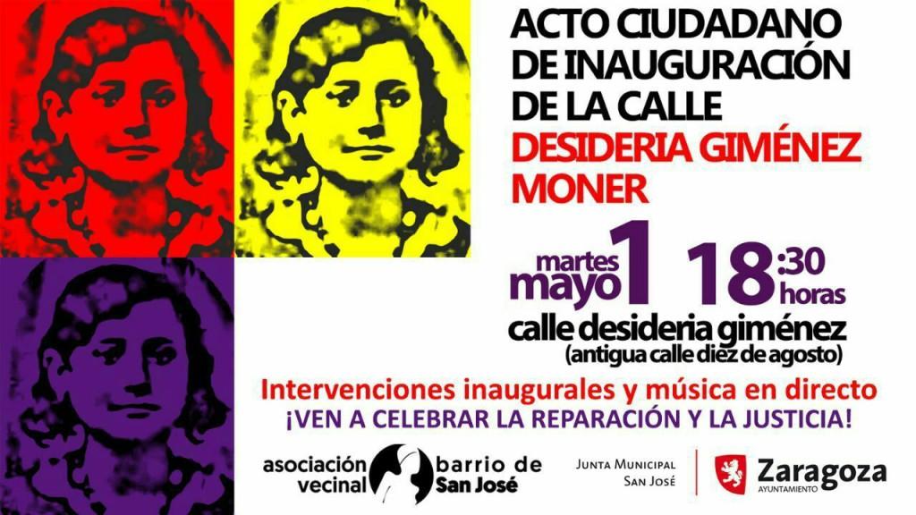 """El Barrio de San José elimina """"la Sanjurjada"""" de su callejero y rinde homenaje a Desideria Giménez"""
