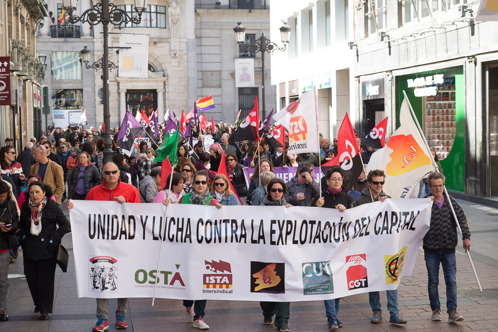 Miles de personas en Aragón reclaman la defensa de los derechos de los y las trabajadoras