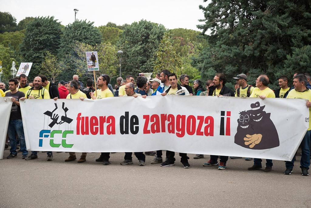 Seguimiento del 100% en la primera jornada de paros en FCC parques y jardines de Zaragoza