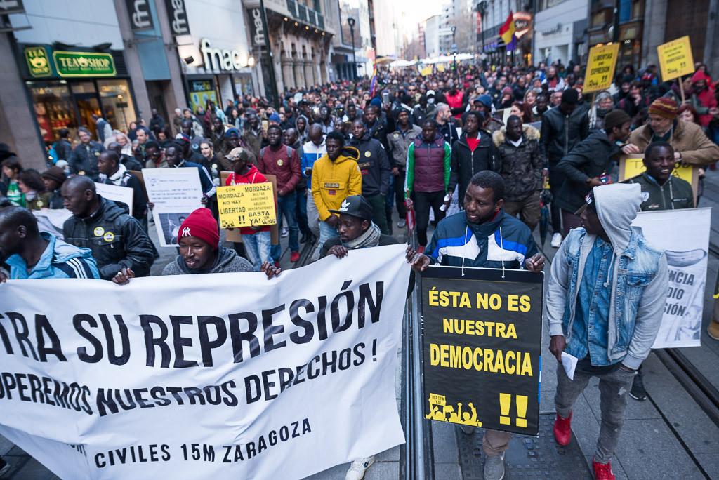 Manifestación el pasado mes de marzo en Zaragoza. Foto: Pablo Ibáñez (AraInfo).