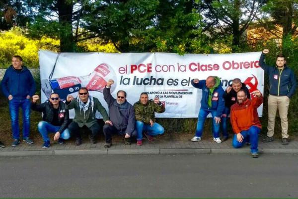 Trabajadores de Maessa durante las movilizaciones. Foto: PCE Aragón
