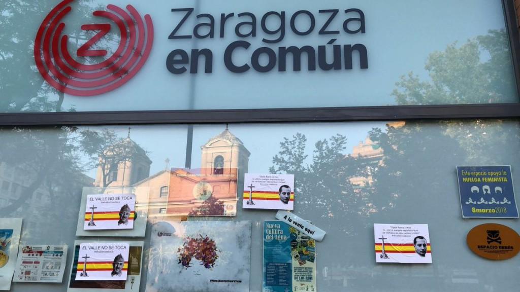 Ataque fascista a la sede de Zaragoza en Común en la capital aragonesa