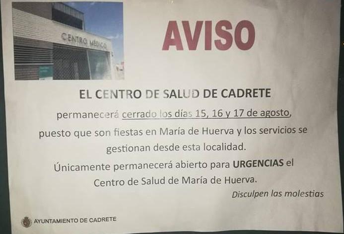 Los centros de salud de toda la Ribera Baja de la Uerba permanecerán cerrados los próximos cinco días