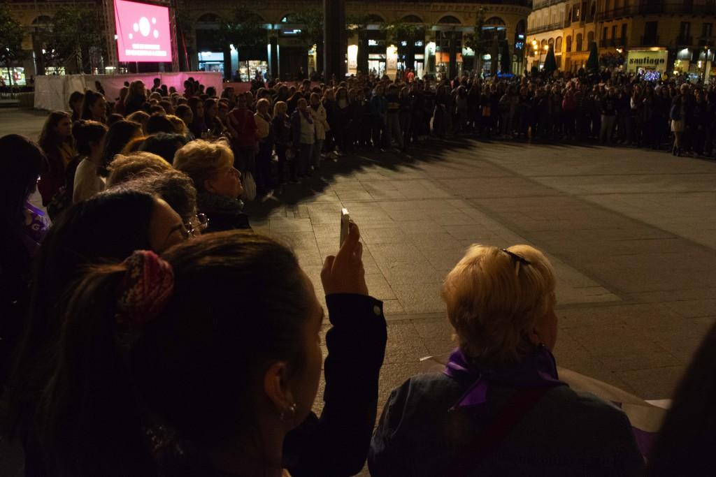 Manifestación del 8M Zaragoza en repulsa por la primera agresión machista durante las Fiestas. Foto: Rocío Durán.