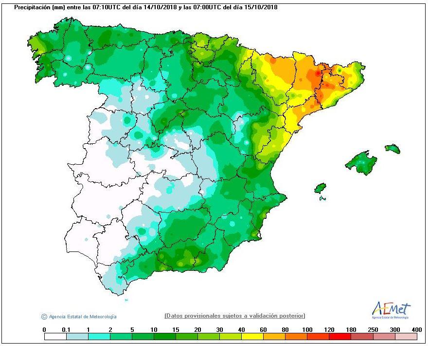El huracán Leslie se debilita pero mantiene la alerta en diferentes zonas del Estado español