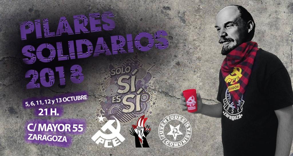Pilares Solidarios en las barras del PCE, UJCE y Comité Internacionalista
