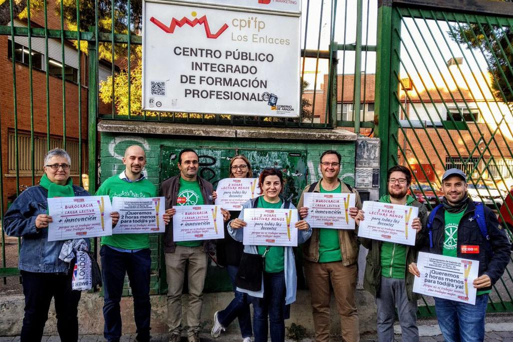 CCOO Aragón exige que la DGA pague el mismo salario al profesorado de FP que al de Secundaria