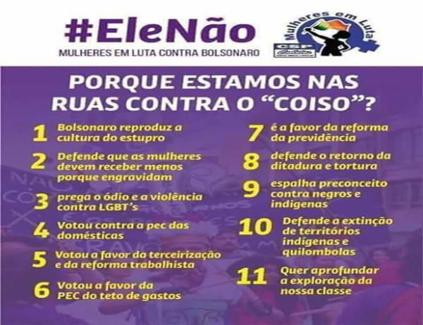 Mulheres em luta contra Bolsonaro