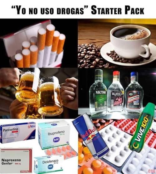 "Como veis, este es un ""pack"" para principiantes.Podéis añadir: pregabalina (lyrica),tramadol,diazepam (valium), loracepam (orfidal), alprazolam(trankimazin), fluoxetina (prozac) y un largo etc."