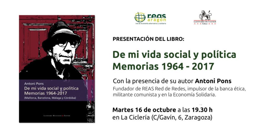 """Antoni Pons presenta en La Ciclería su libro """"De mi vida social y política. Memorias 1964-2017"""""""
