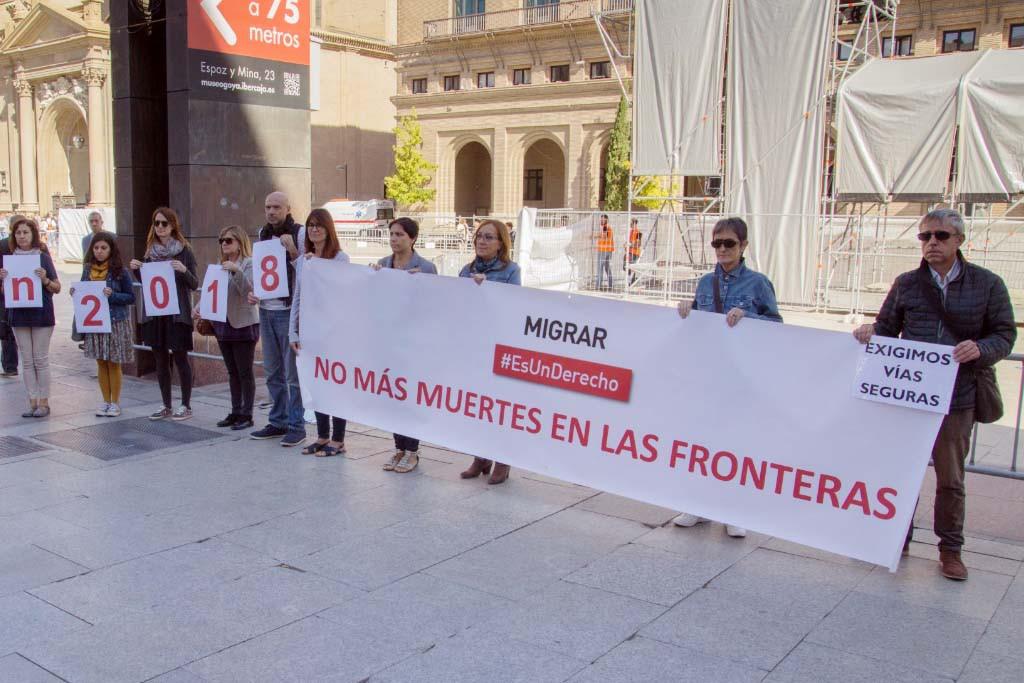 «No más muertes en la frontera»: concentración en Zaragoza porlas dos personas muertas en el Hierro este domingo