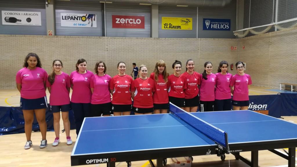 Segunda concentración para los tres equipos zaragozanos en la Liga Estatal de Primera Femenina de Tenis de Mesa