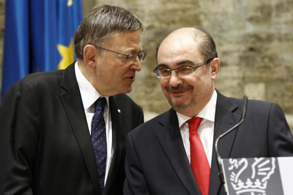 Javier Lambán y Ximo Puig mantienen una reunión de trabajo en la Generalitat.