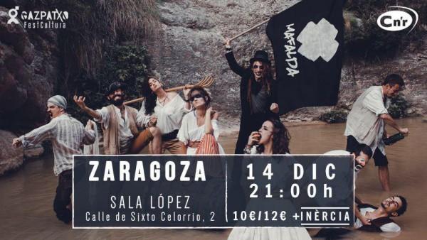 Cartel del concierto de Mafalda en Zaragoza.