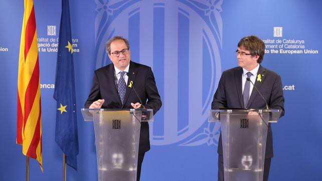 Torra y Puigdemont presentan el Consell per la República en Bruselas con la ausencia de la CUP