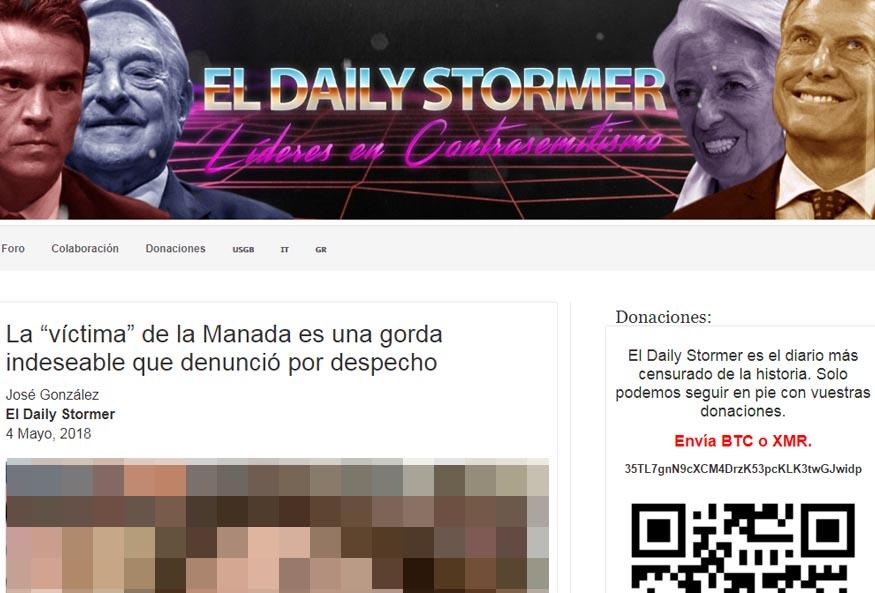Una de las publicaciones donde se filtraron datos de la víctima de La Manada.