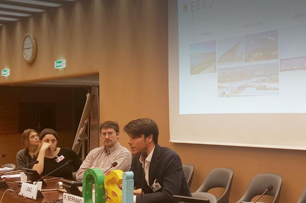 Fermín Serrano presentando el proyecto Ebro 2030 en las Naciones Unidas.