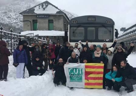 El CUT pide en Canfranc la reapertura de la línea internacional de ferrocarril