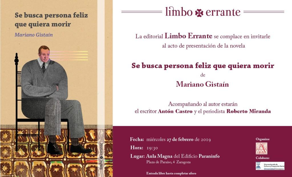 Mariano Gistaín presenta su libro 'Se busca persona feliz que quiera morir' en el Edificio Paraninfo