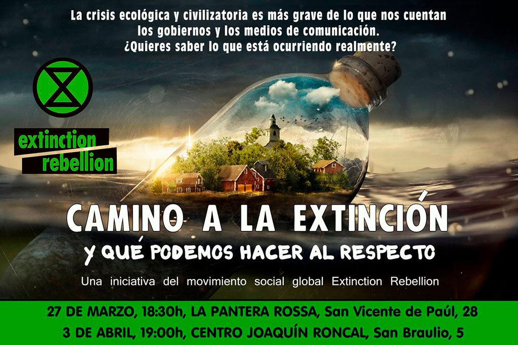 La iniciativa Extinctión Rebellion de Zaragoza organiza dos charlas sobre la crisis ecológica