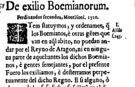 Exilio boemianorum. Archivo Pretendemos Gitanizar el Mundo, extraída de Fueros y observancias del Reyno de Aragón (1667)