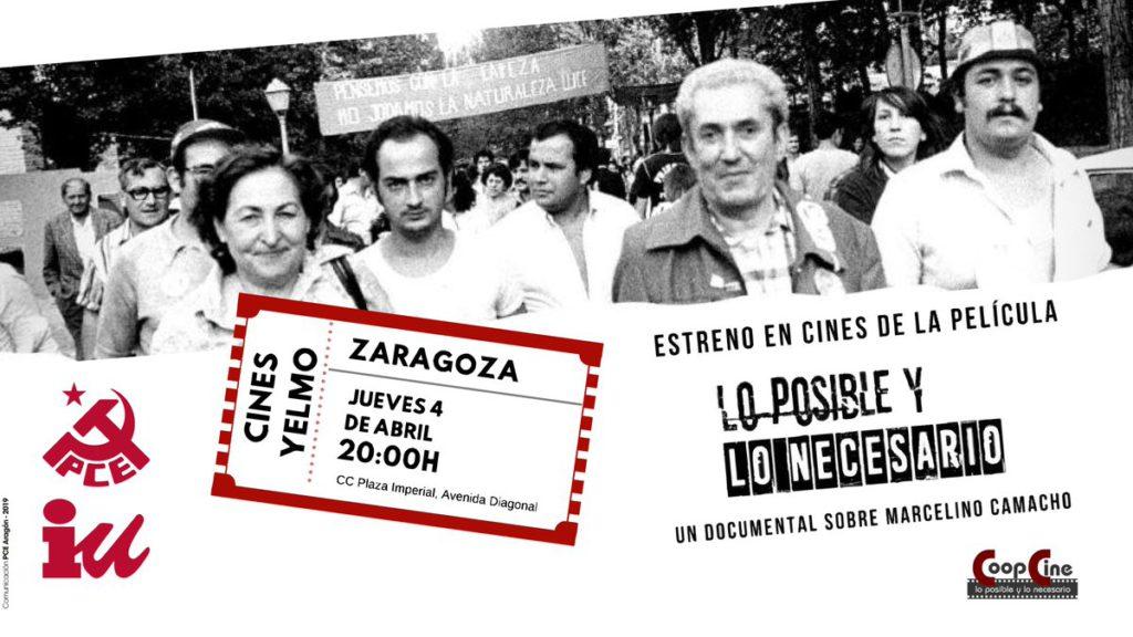 """""""Lo posible y lo necesario"""", la película documental sobre Marcelino Camacho, se estrena en Zaragoza"""