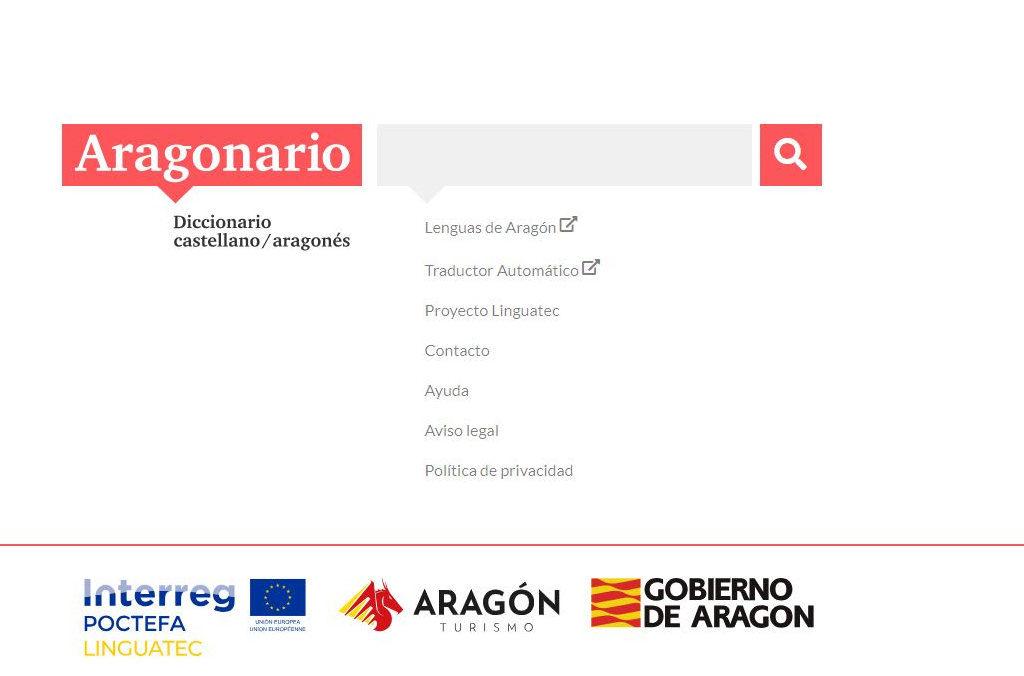 Aragonario, el diccionario aragonés-castellano online impulsado por Turismo de Aragón y Política lingüística