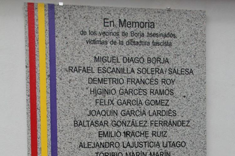 Borja recuerda a los 20 vecinos asesinados por el fascismo