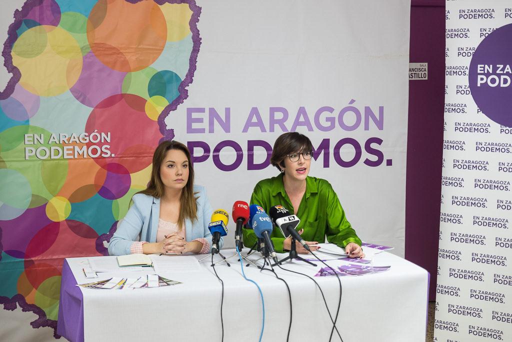 """Las candidatas Maru Díaz y Violeta Barba presentan los programas de Podemos-Equo """"para llenar de color"""" Aragón y Zaragoza"""