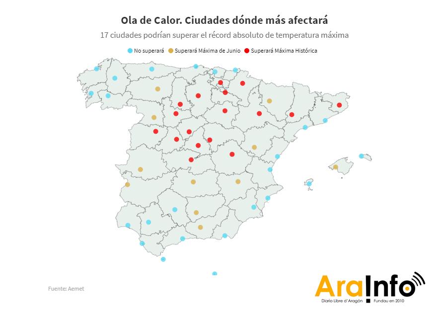 [MAPA] Zaragoza superará su récord histórico de temperatura máxima