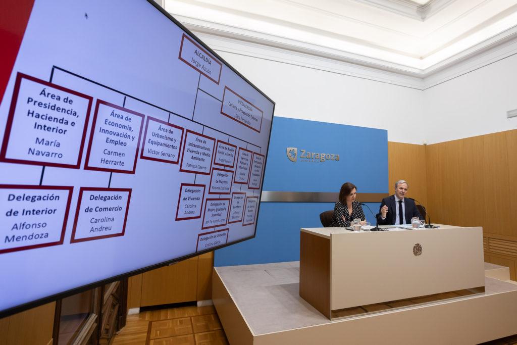 Jorge Azcón y Sara Fernández presentan la estructura del Gobierno de Zaragoza