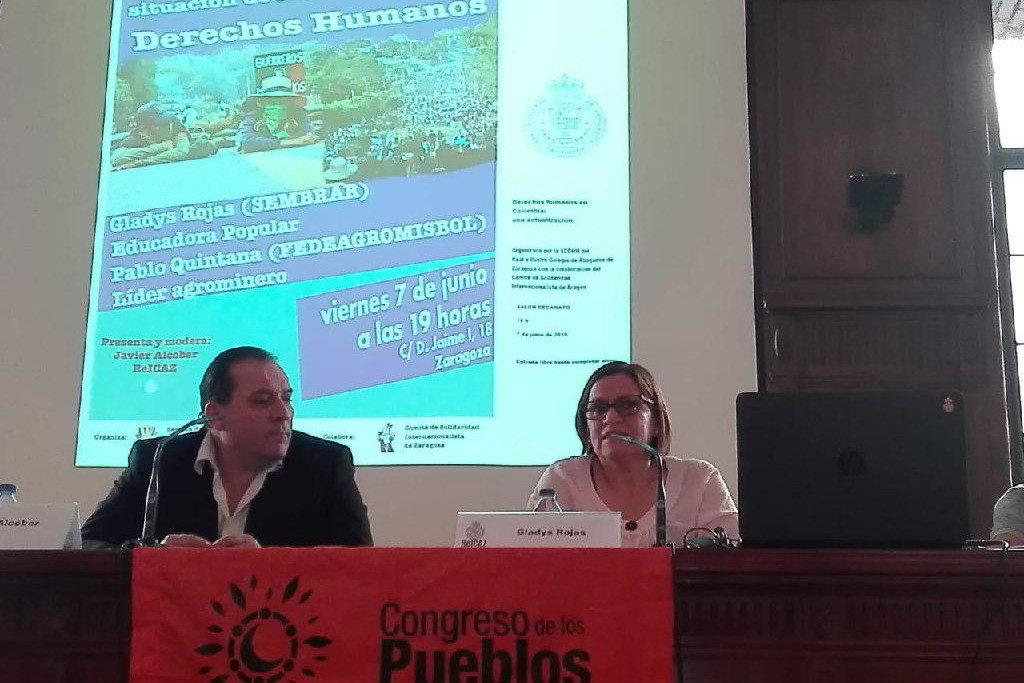 Gladys Rojas y Pablo de Jesús Santiago muestran en Zaragoza el estado de los acuerdos de paz en Colombia
