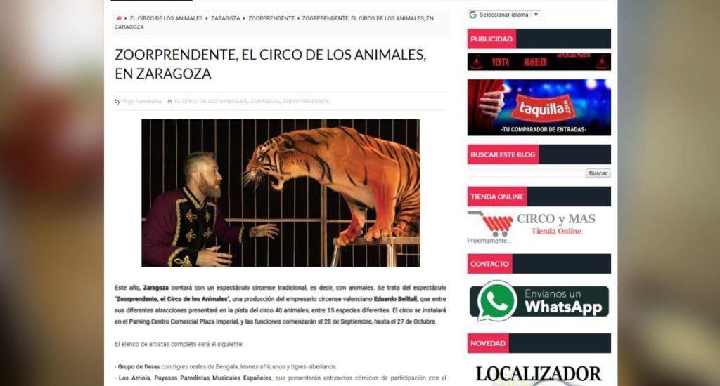 """Podemos-Equo y ZeC denuncian un """"circo ilegal"""" de espectáculos con animales que se anuncia para actuar en Zaragoza"""
