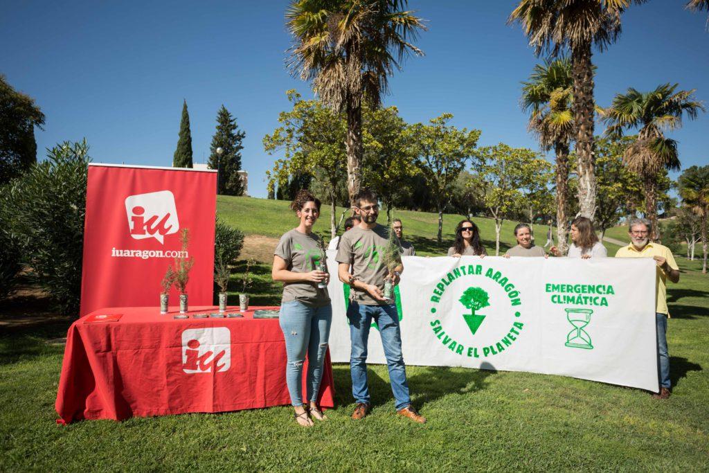 IU organiza una plantada de 500 árboles autóctonos en las Cinco Villas para «replantar Aragón»