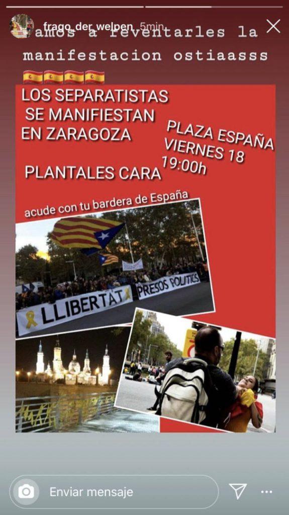 Convocan una concentración en Zaragoza en defensa de los derechos fundamentales y la extrema derecha llama a reventarla a «ostias»